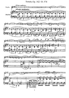 Соната для скрипки и фортепиано ля мажор, D.574 Op.162: Партитура, сольная партия by Франц Шуберт