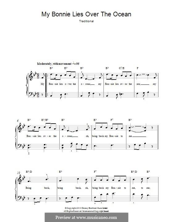 My Bonnie is over the Ocean: Для фортепиано (легкий уровень) by folklore