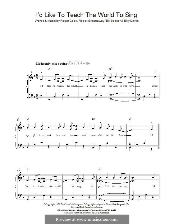 I'd Like to Teach the World to Sing (The New Seekers): Для фортепиано (легкий уровень) by Bill Backer, Billy Davis, Roger Cook, Roger Greenaway