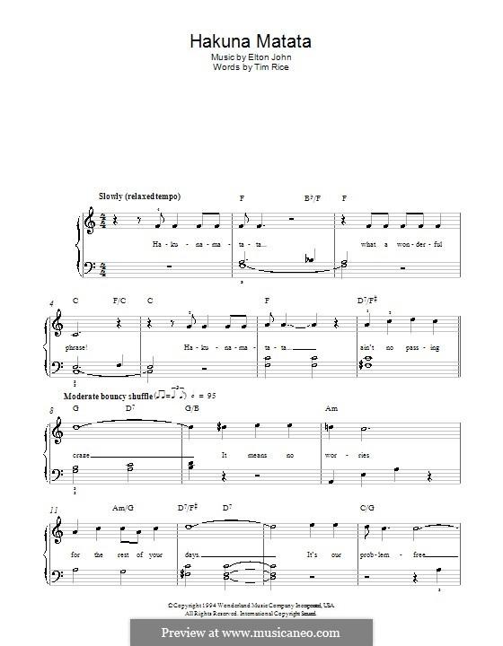 Hakuna Matata (from The Lion King): Для фортепиано (легкий уровень) by Elton John