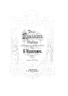 Три романса для скрипки и фортепиано, Op.7: Партитура, сольная партия by Анри Вьетан