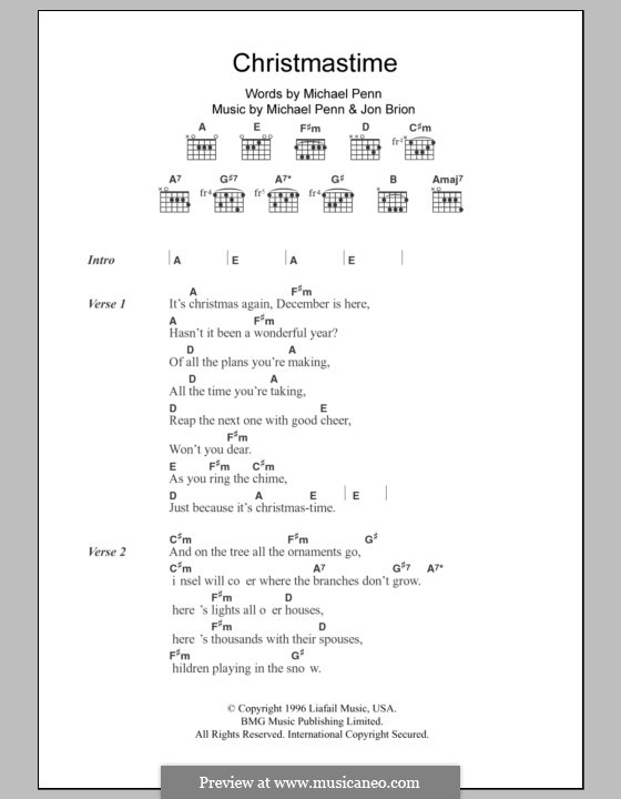 Christmastime (Aimee Mann): Текст, аккорды by Jon Brion, Michael Penn