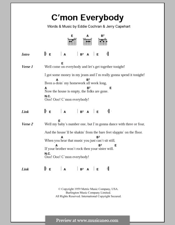 C'mon Everybody: Текст, аккорды by Eddie Cochran, Jerry Capehart