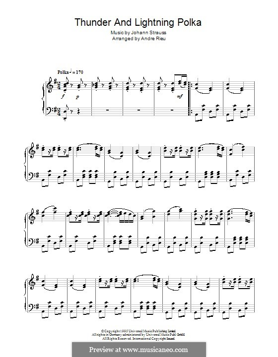 Гром и молния, Op.324: Для фортепиано by Иоганн Штраус (младший)