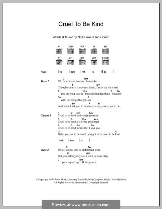 Cruel To Be Kind (Nick Lowe): Текст, аккорды by Ian Gomm, Nick Lowe