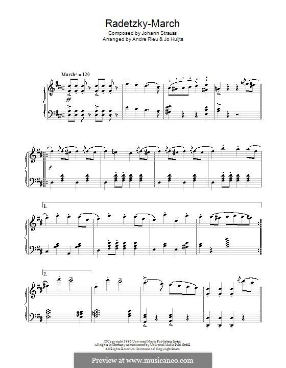 Марш Радецкого, Op.228: Для фортепиано (с аппликатурой) by Иоганн Штраус (отец)