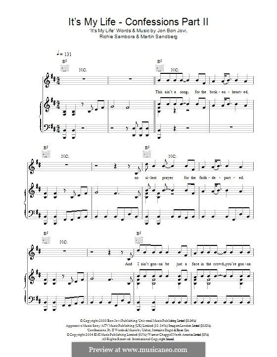 It's My Life / Confessions: Для голоса и фортепиано (или гитары) by Jon Bon Jovi, Max Martin, Richie Sambora