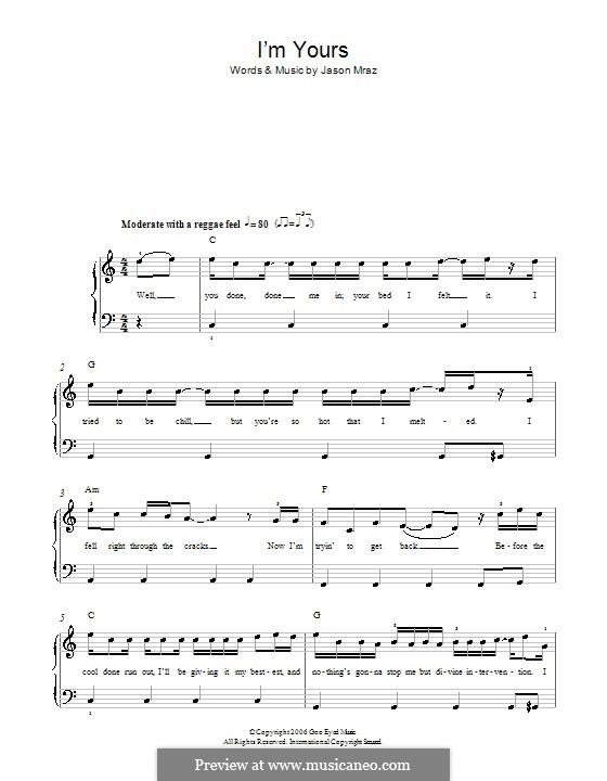 I'm Yours: Для фортепиано by Jason Mraz