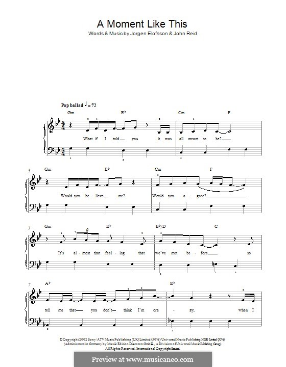 A Moment Like This: Для фортепиано (легкий уровень) by John Reid, Jörgen Kjell Elofsson