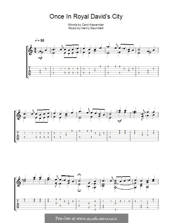 Once in Royal David's City: For guitar by Henry John Gauntlett