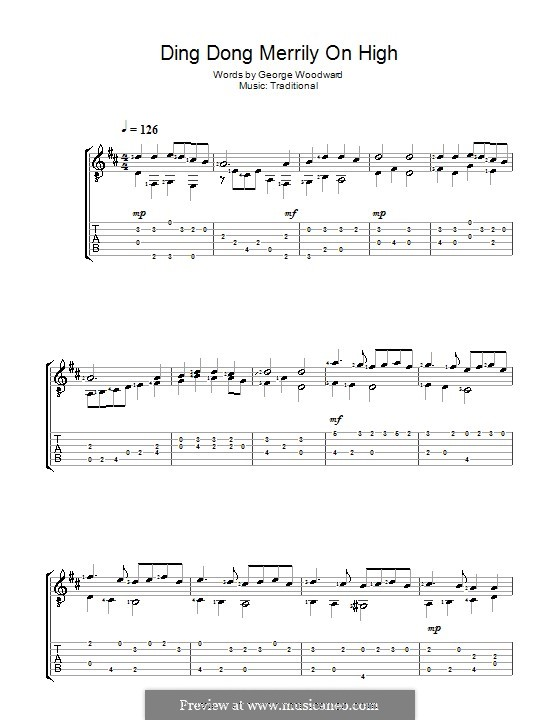 Ding Dong! Merrily on High (Printable Scores): Для гитары (Acoustic) by folklore