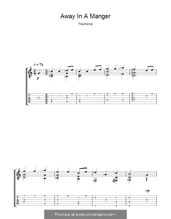 Away in a Manger: Гитарная табулатура (Acoustic) by Уильям (Джеймс) Киркпатрик
