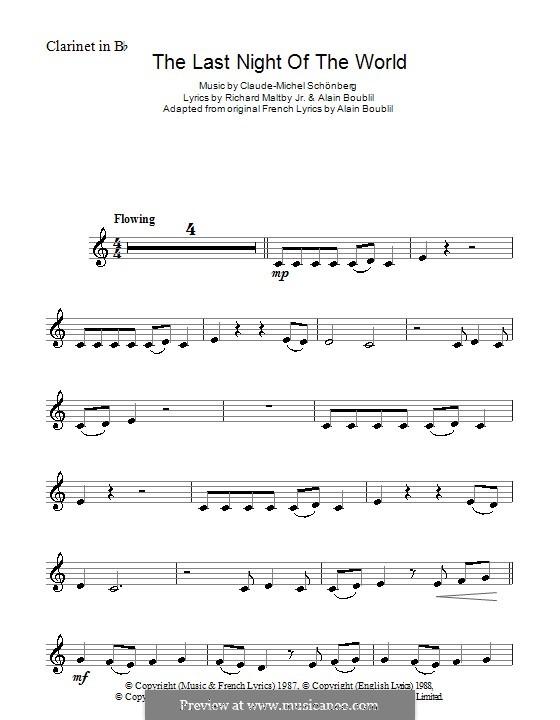 The Last Night of the World: Для кларнета by Claude-Michel Schönberg