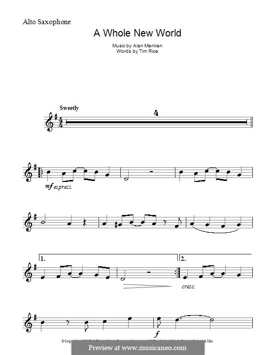 A Whole New World (from Aladdin): Для альтового саксофона by Alan Menken