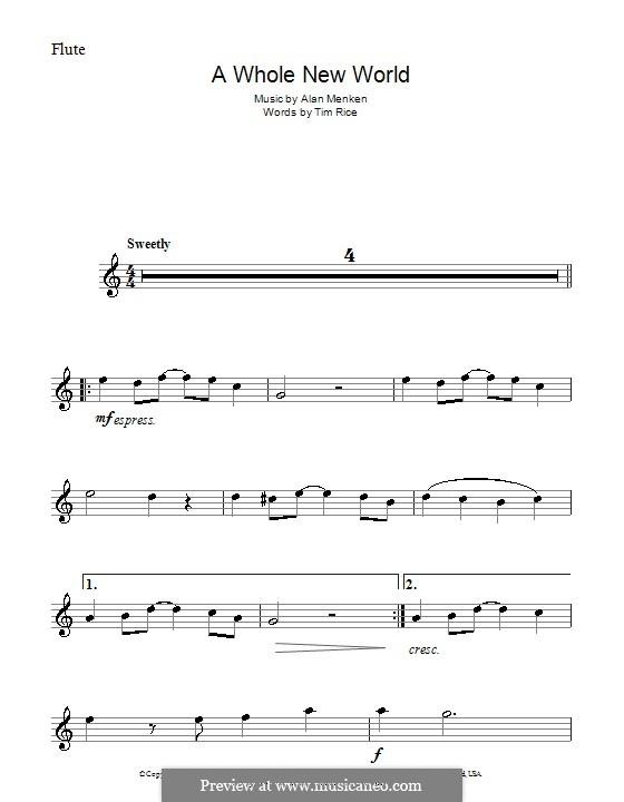 A Whole New World (from Aladdin): Для флейты by Alan Menken