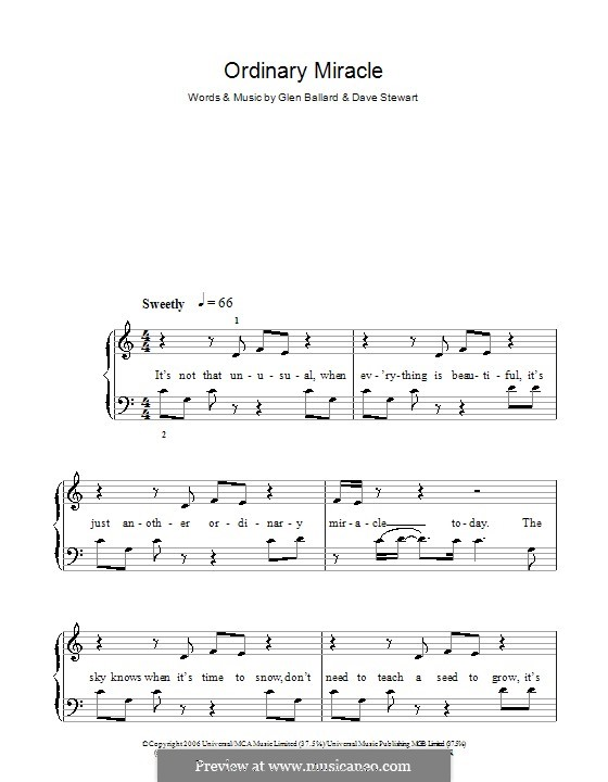 Ordinary Miracle (from Charlotte's Web): Для фортепиано (легкий уровень) (Sarah McLachlan) by David A. Stewart, Glen Ballard
