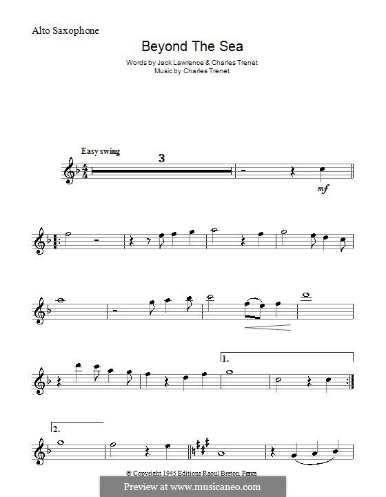 Beyond the Sea: Для альтового саксофона by Albert Lasry, Charles Trenet