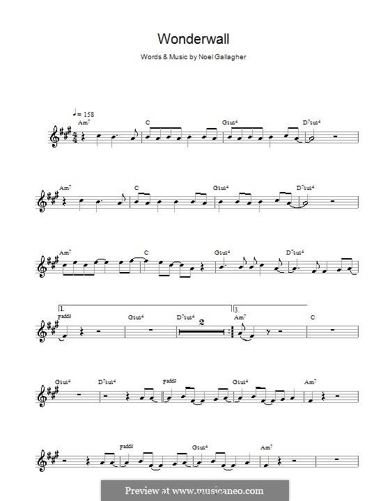 Wonderwall (Oasis): Для альтового саксофона by Noel Gallagher