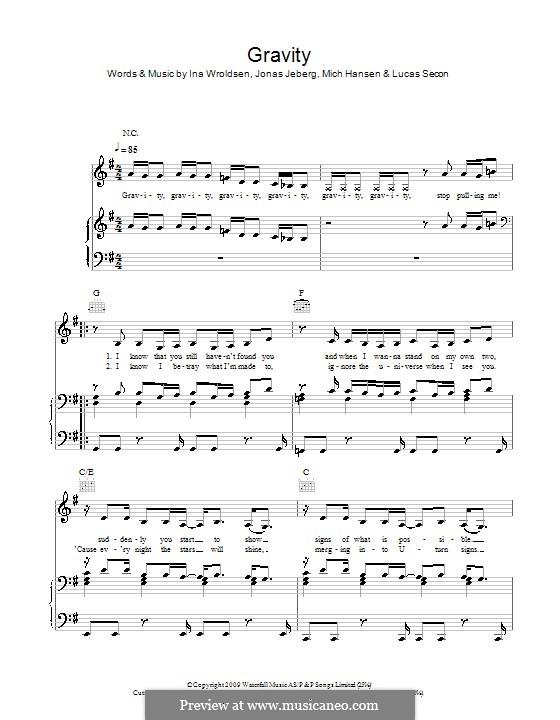Gravity (Pixie Lott): Для голоса и фортепиано (или гитары) by Ina Wroldsen, Jonas Jeberg, Lucas Secon, Mich Hansen