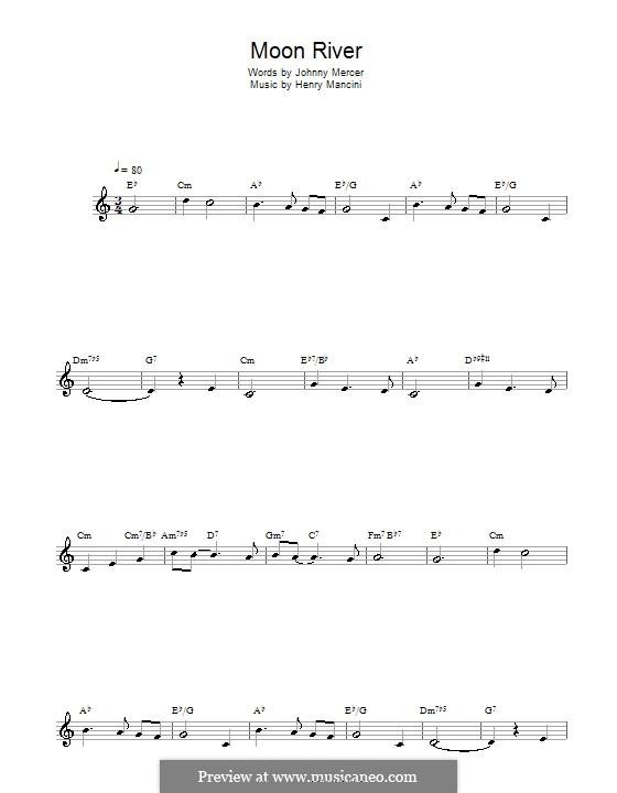 Лунная река (из фильма 'Завтрак у Тиффани'): Для альтового саксофона by Henry Mancini
