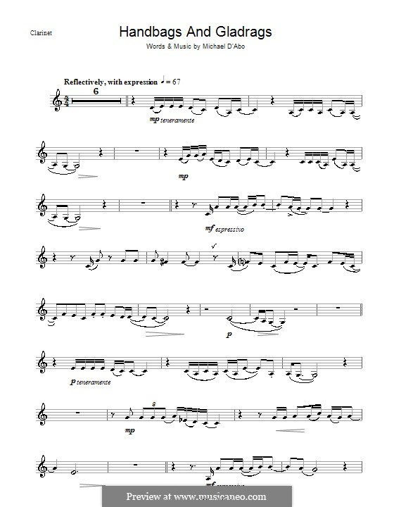 Handbags and Gladrags (Stereophonics): Для кларнета by Michael D'Abo