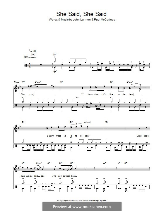 She Said She Said (The Beatles): Для ударных by John Lennon, Paul McCartney