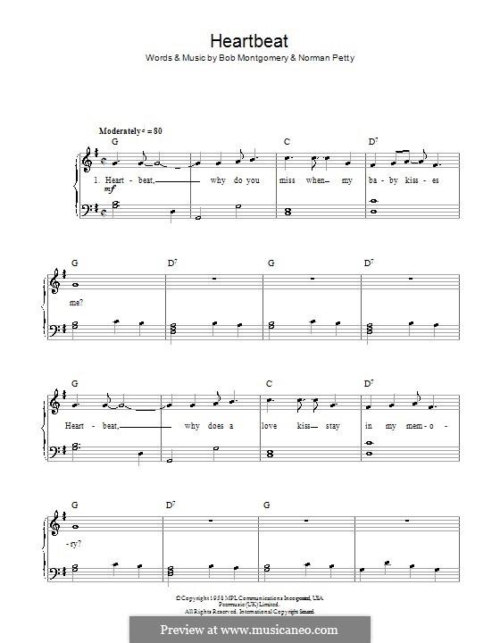 Heartbeat (Buddy Holly): Для начинающего пианиста by Bob Montgomery, Norman Petty