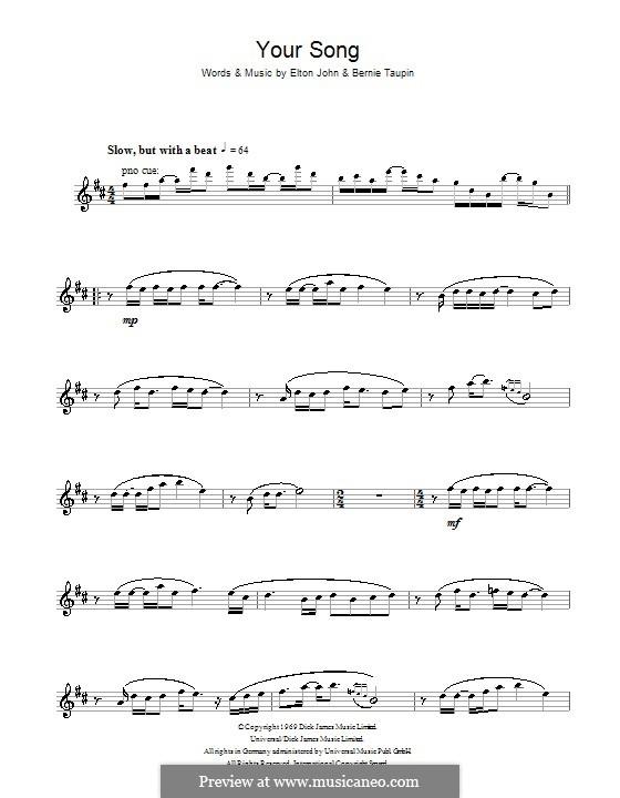 Your Song: Для альтового саксофона by Elton John
