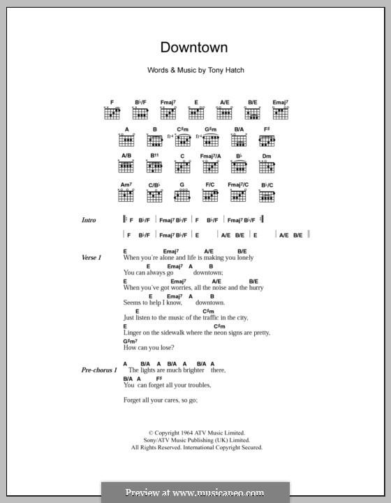 Downtown (Petula Clark): Текст и аккорды by Tony Hatch