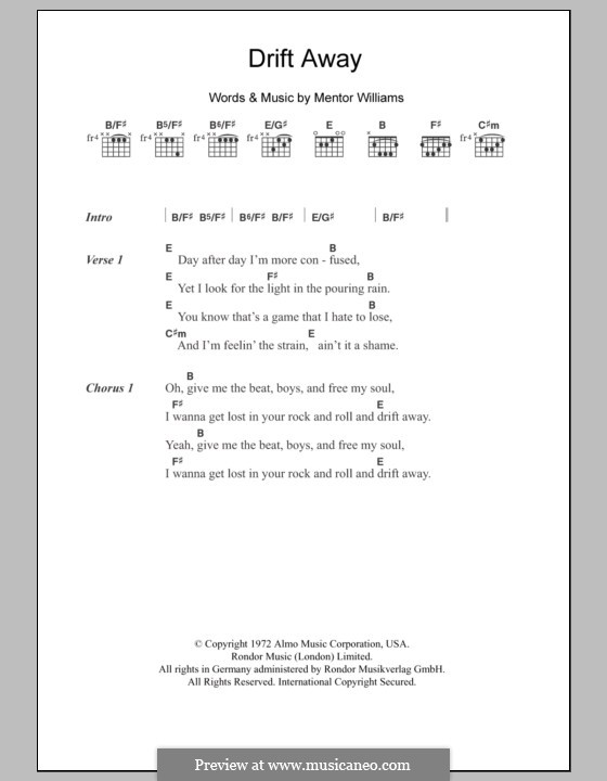 Drift Away (Dobie Gray): Текст и аккорды by Mentor Williams