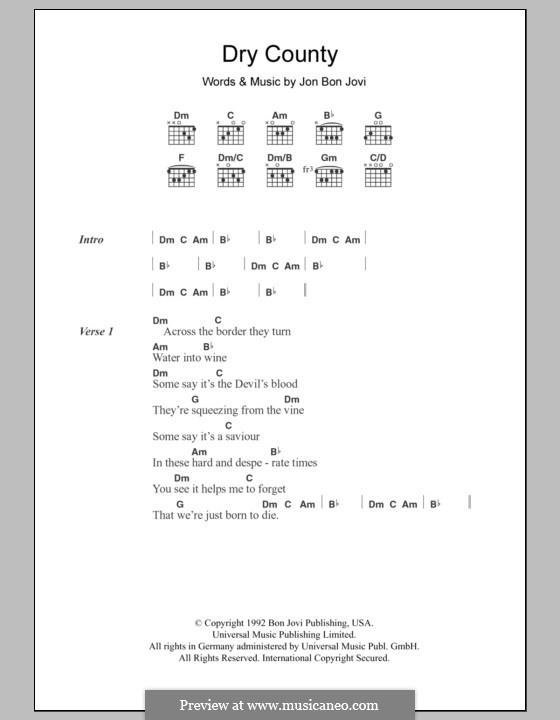 Dry County (Bon Jovi): Текст, аккорды by Jon Bon Jovi