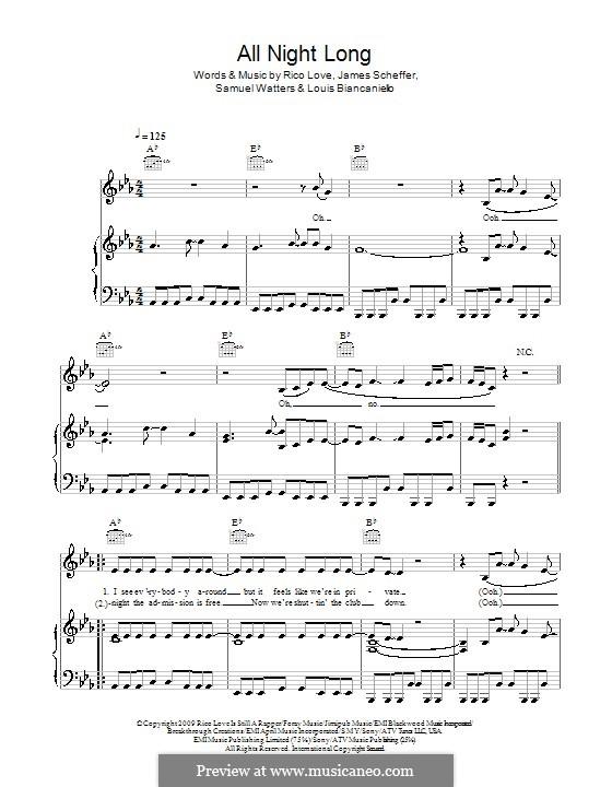 All Night Long (Alexandra Burke): Для голоса и фортепиано (или гитары) by James Scheffer, Louis Biancaniello, Rico Love, Samuel Watters