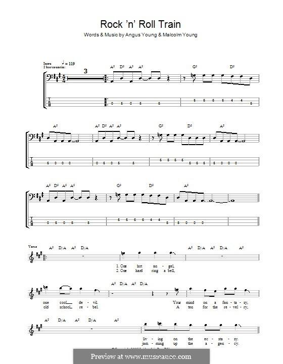Rock 'n' Roll Train (AC/DC): Для бас-гитары с табулатурой by Angus Young, Malcolm Young