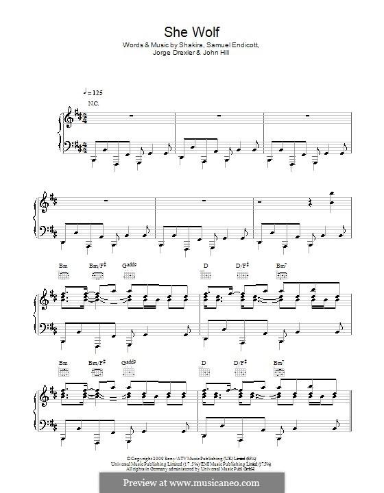 She Wolf: Для голоса и фортепиано (или гитары) by John Leubrie Hill, Shakira, Jorge Drexler, Samuel Endicott