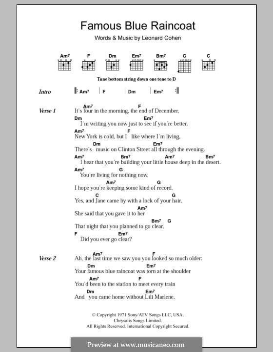 Famous Blue Raincoat: Текст, аккорды by Leonard Cohen
