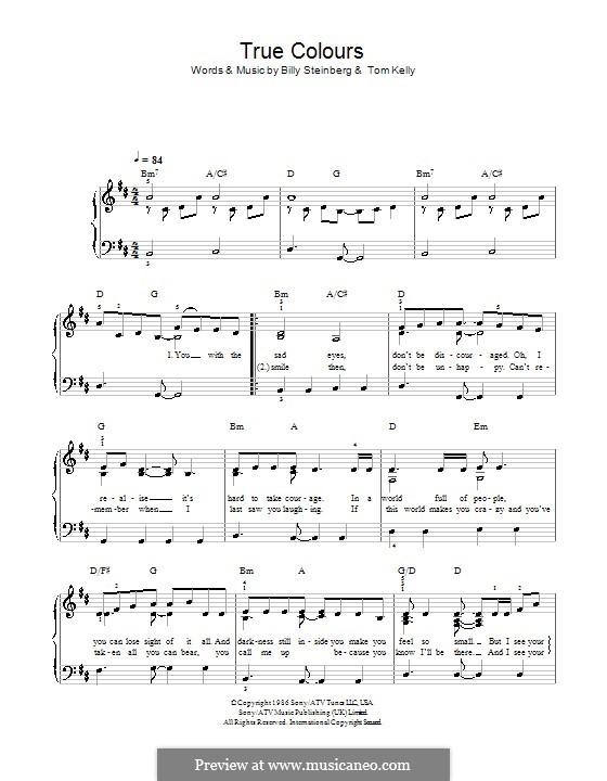 True Colors: Для фортепиано (легкий уровень) (Glee Cast) by Billy Steinberg, Tom Kelly