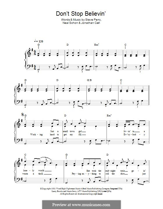 Don't Stop Believin': Для фортепиано (легкий уровень) (Glee Cast) by Jonathan Cain, Neal Schon, Steve Perry