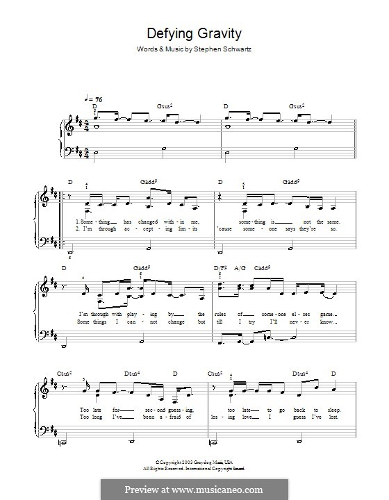 Defying Gravity (from the Broadway Musical Wicked): Для фортепиано (легкий уровень) (с текстом) by Stephen Schwartz