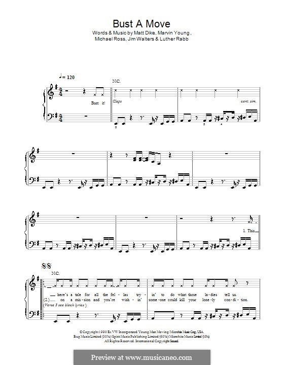 Bust a Move: Для фортепиано (легкий уровень) (Glee Cast) by Marvin Young, Matt Dike