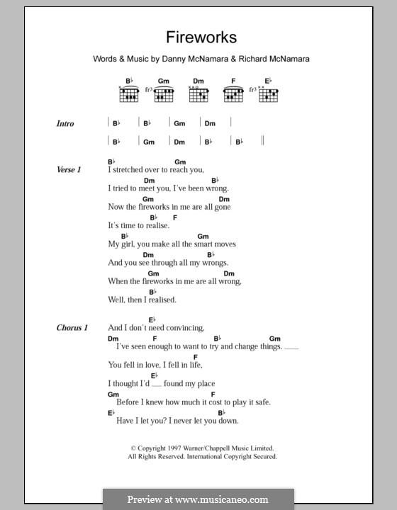 Fireworks (Embrace): Текст и аккорды by Danny McNamara, Richard McNamara
