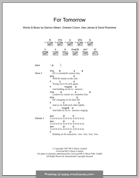 For Tomorrow (Blur): Текст и аккорды by Alex James, Damon Albarn, David Rowntree, Graham Coxon