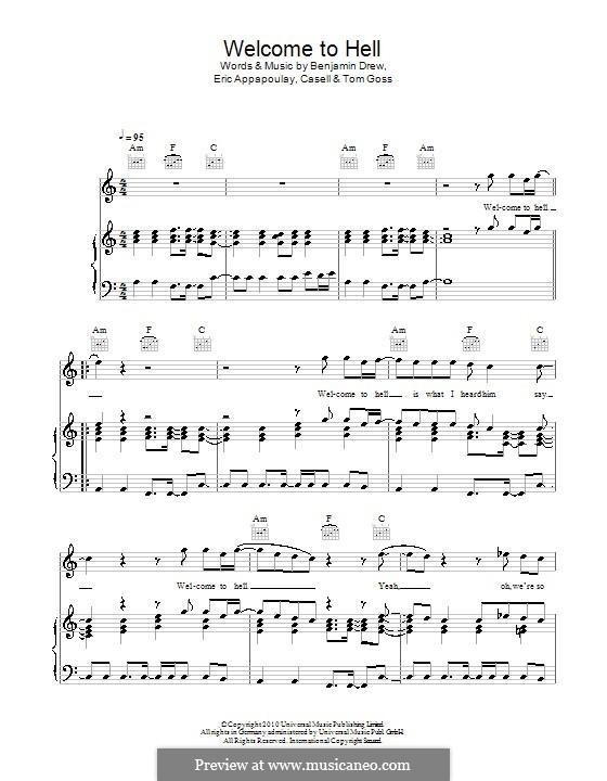 Welcome to Hell (Plan B): Для голоса и фортепиано (или гитары) by Casell, Benjamin Ballance-Drew, Eric Appapoulay, Tom Goss