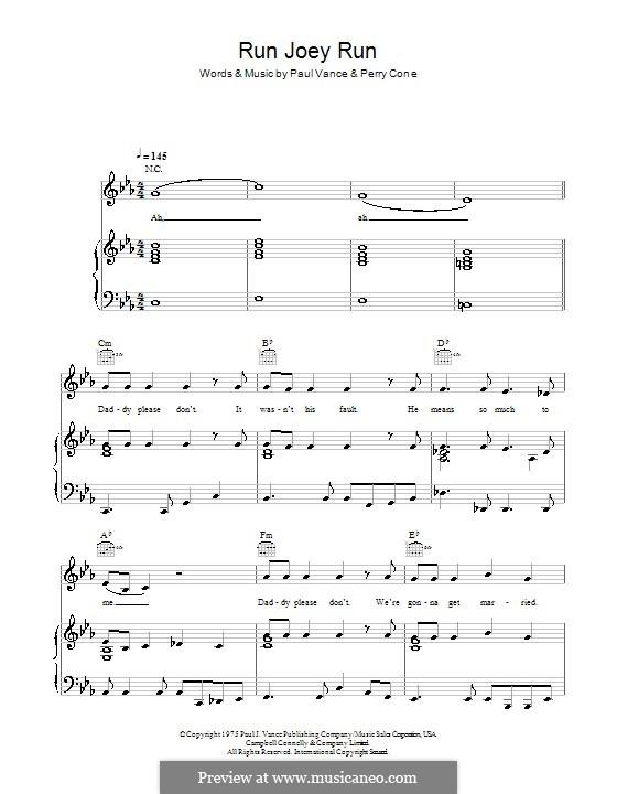 Run Joey Run (Glee Cast): Для голоса и фортепиано (или гитары) by Paul J. Vance, Perry Cone