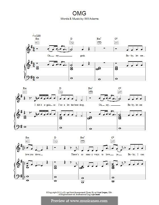 OMG (Usher featuring will.i.am): Для голоса и фортепиано (или гитары) by will.i.am