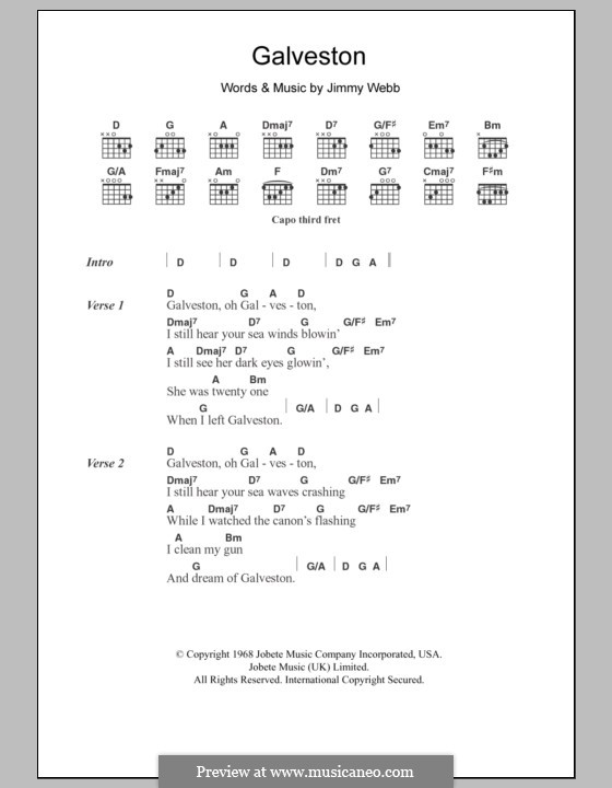 Galveston (Glen Campbell): Текст и аккорды by Jimmy Webb