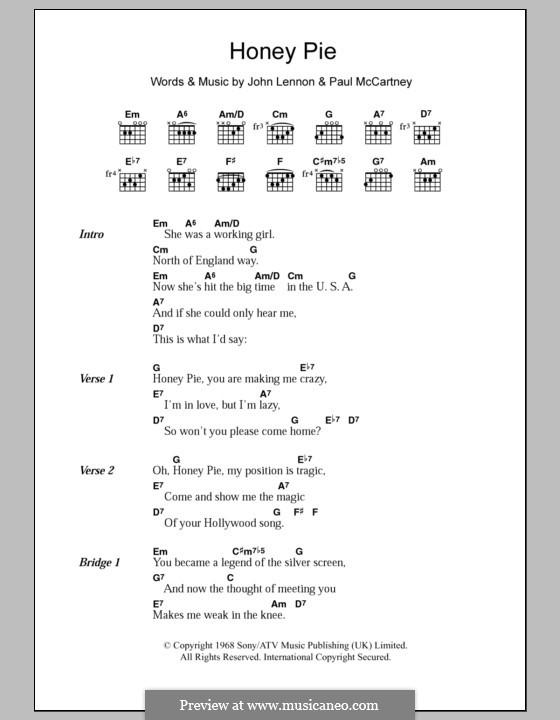 Honey Pie (The Beatles): Текст, аккорды by John Lennon, Paul McCartney