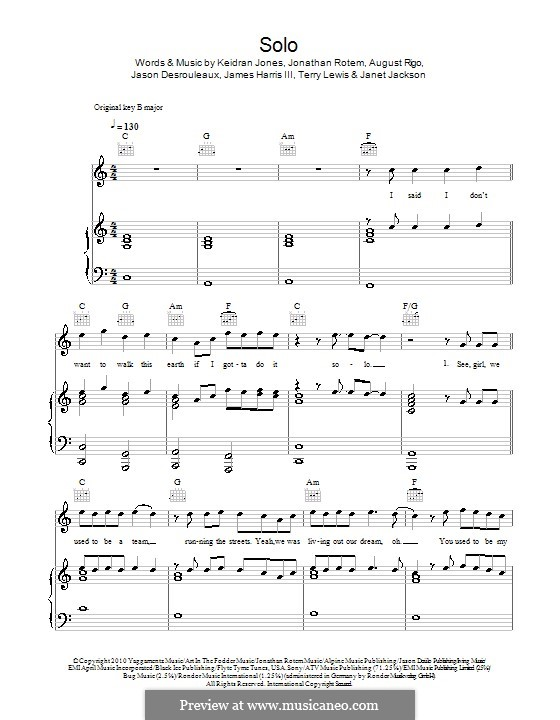 Solo (Iyaz): Для голоса и фортепиано (или гитары) by August Rigo, James Samuel Harris III, Janet Jackson, Jason Desrouleaux, Jonathan Rotem, Keidran Jones, Terry Lewis