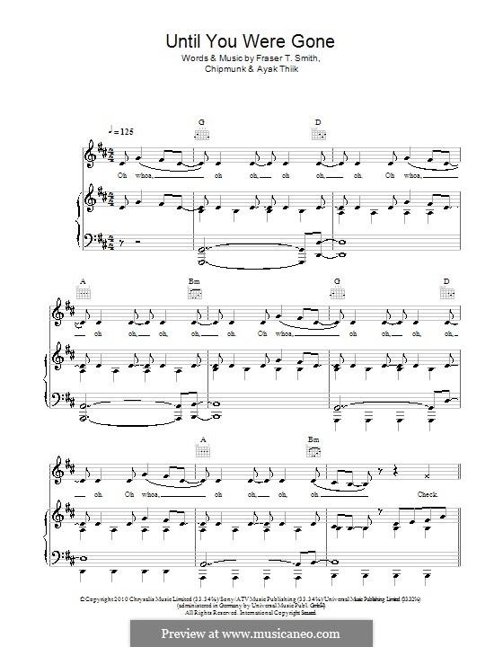 Until You Were Gone (Chipmunk feat. Esmée Denters): Для голоса и фортепиано (или гитары) by Chipmunk, Ayak Thiik, Fraser T. Smith