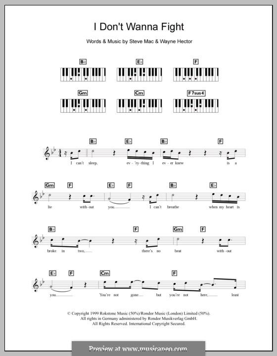 I Don't Wanna Fight (Westlife): Для клавишного инструмента by Steve Mac, Wayne Anthony Hector