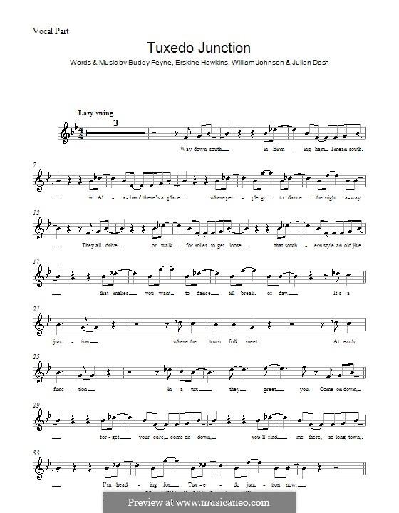 Tuxedo Junction: Мелодия, текст и аккорды by Buddy Feyne, Erskine Hawkins, Julian Dash, William Johnson